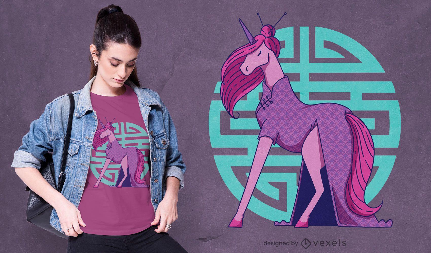 Design de camiseta do Unicórnio Cheongsam
