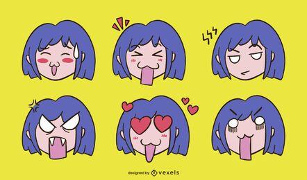 Conjunto de expresión de chica anime