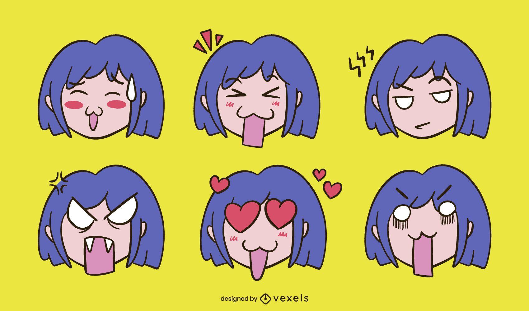 Anime girl expression set