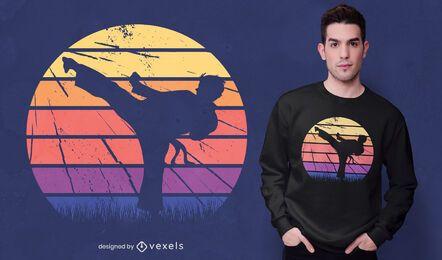 Diseño de camiseta retro de artes marciales.