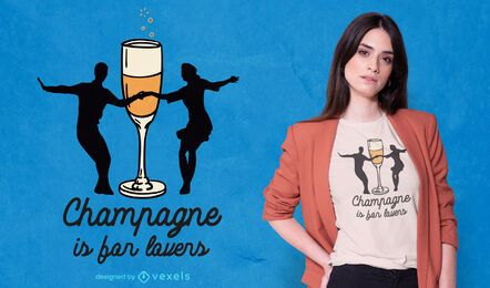 Diseño de camiseta de amantes de champán.
