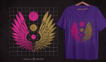 Diseño de camiseta de alas de grunge