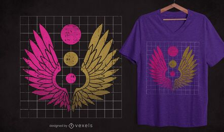 Grunge wings t-shirt design