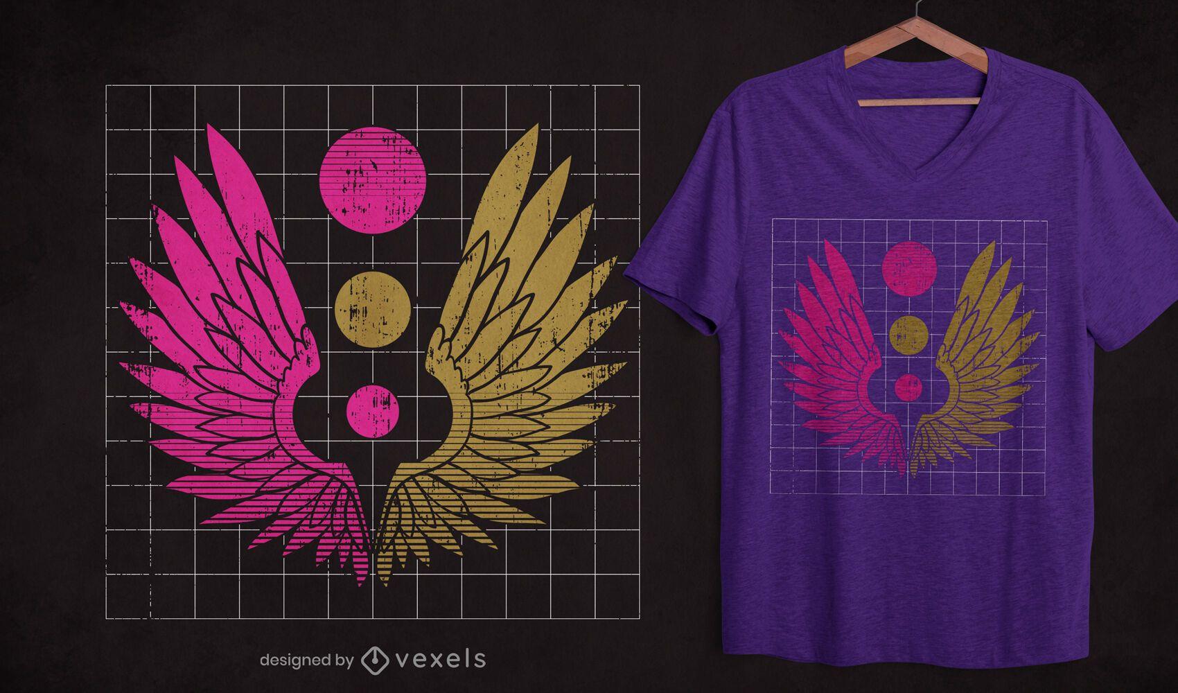 Grunge wings t-shirt design