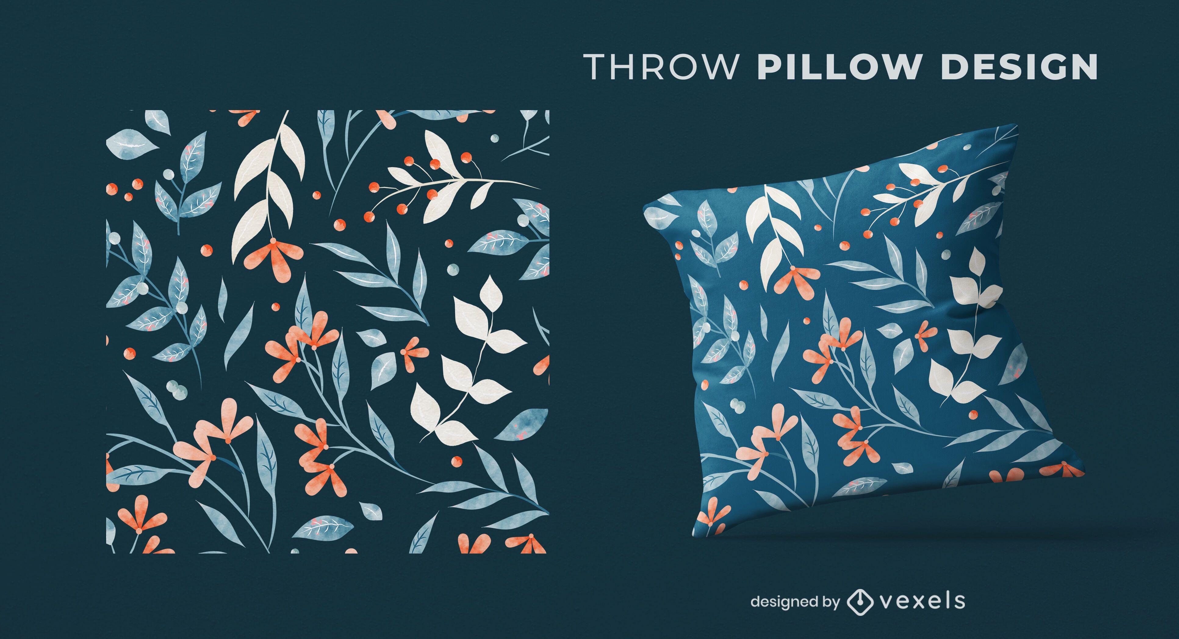 Design de almofada floral com galhos
