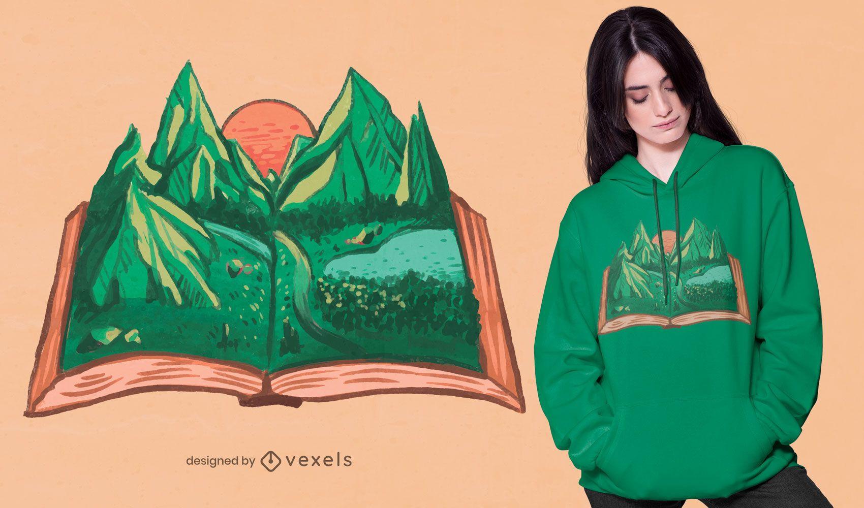 Design de t-shirt de livro da natureza