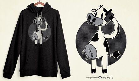 Diseño de camiseta de llamada telefónica de vaca