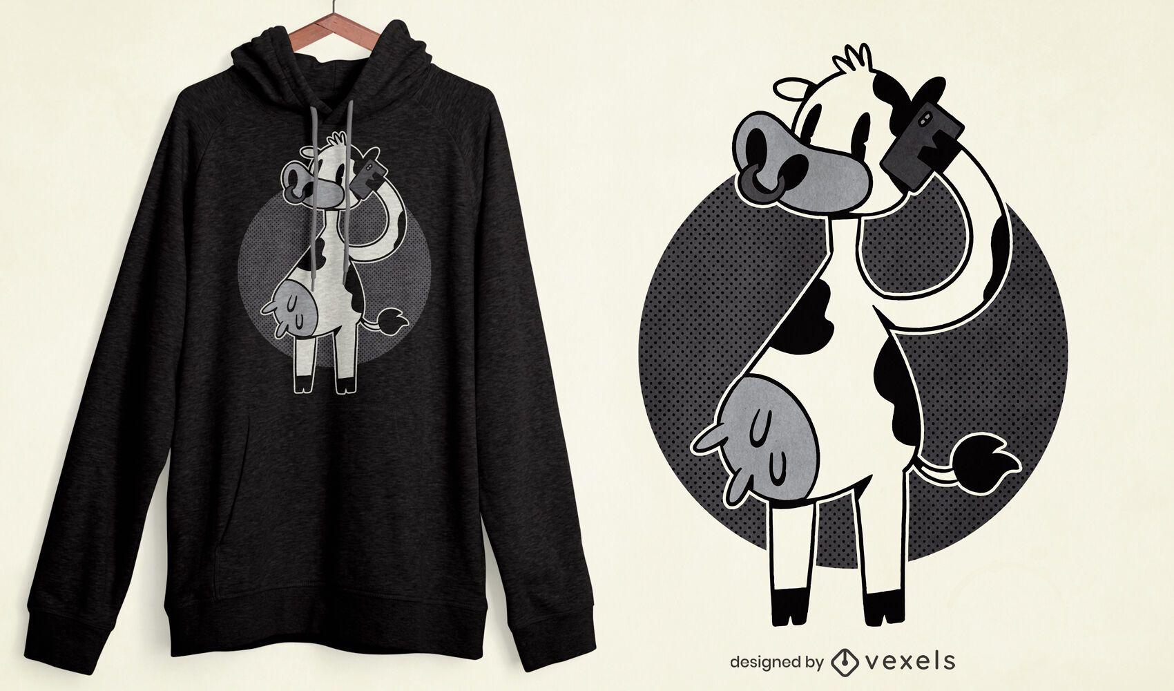 Dise?o de camiseta de llamada telef?nica de vaca