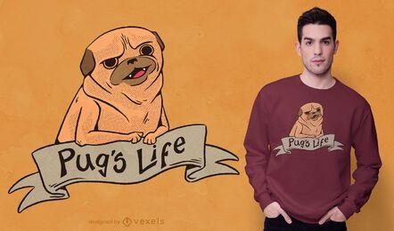 Design de camisetas da vida do Pug