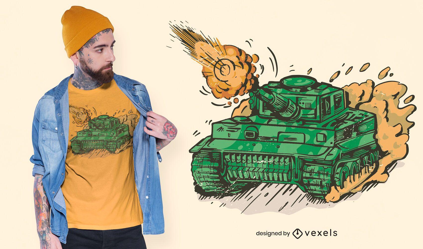 Shooting tank t-shirt design