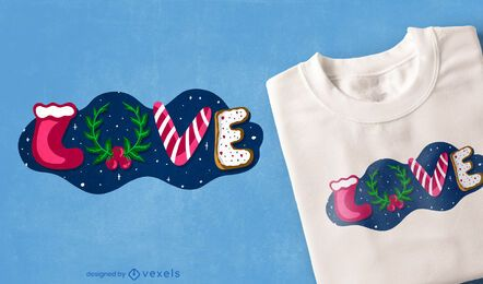 Amo o design de camisetas de natal