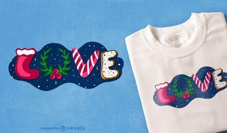 Diseño de camiseta de amor navideño