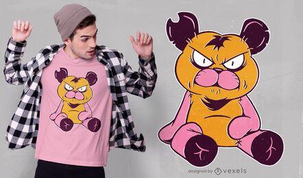Design de camiseta com ursinho de pelúcia irritado