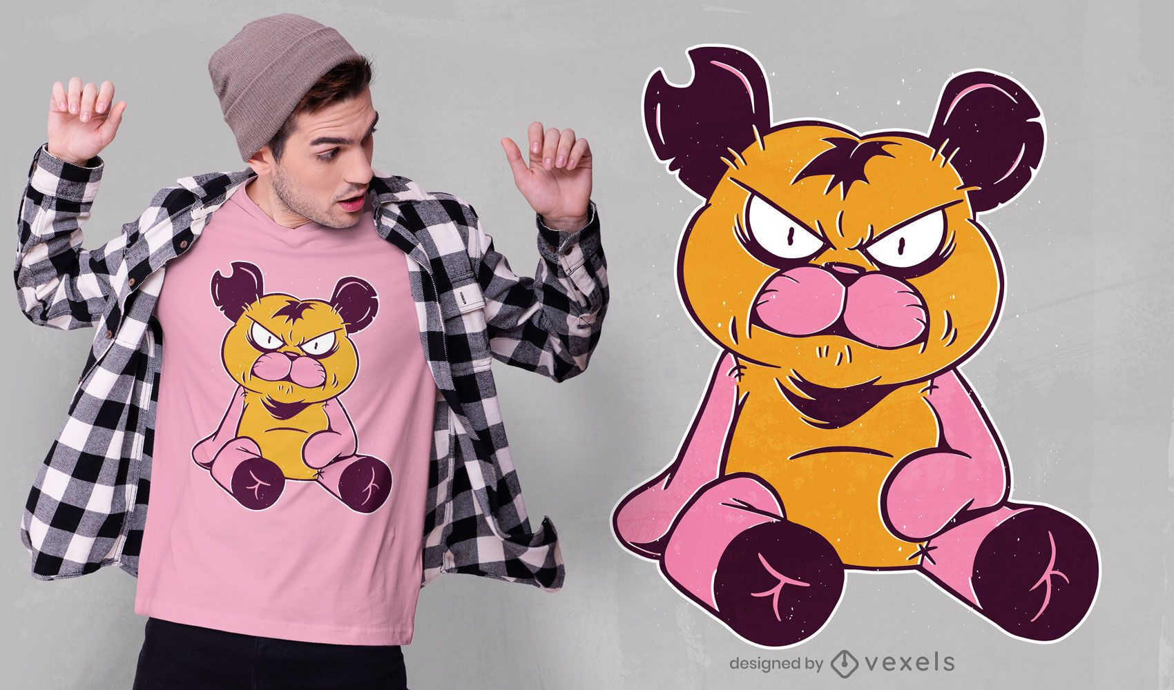 Diseño de camiseta de oso de peluche enojado