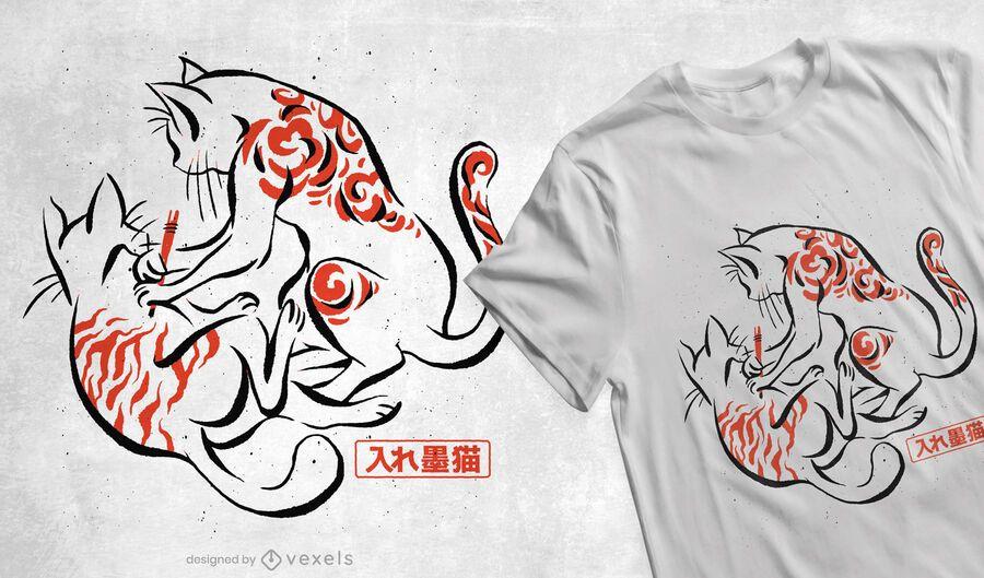 Diseño de camiseta de tatuaje de gatos japoneses