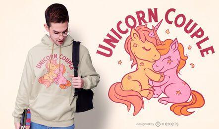 Diseño de camiseta de pareja de unicornio.