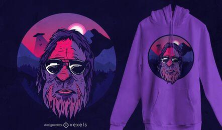 Design de camiseta com paisagem de Pé Grande