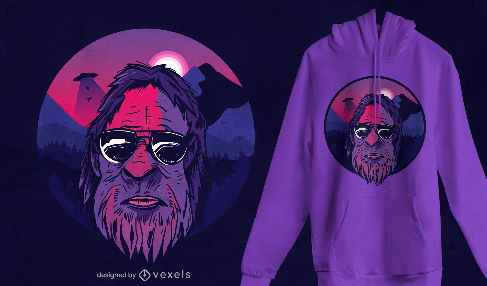 Bigfoot landscape t-shirt design