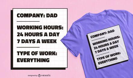 Design de camisetas da empresa do pai