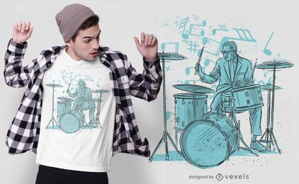 Hand-drawn drummer t-shirt design