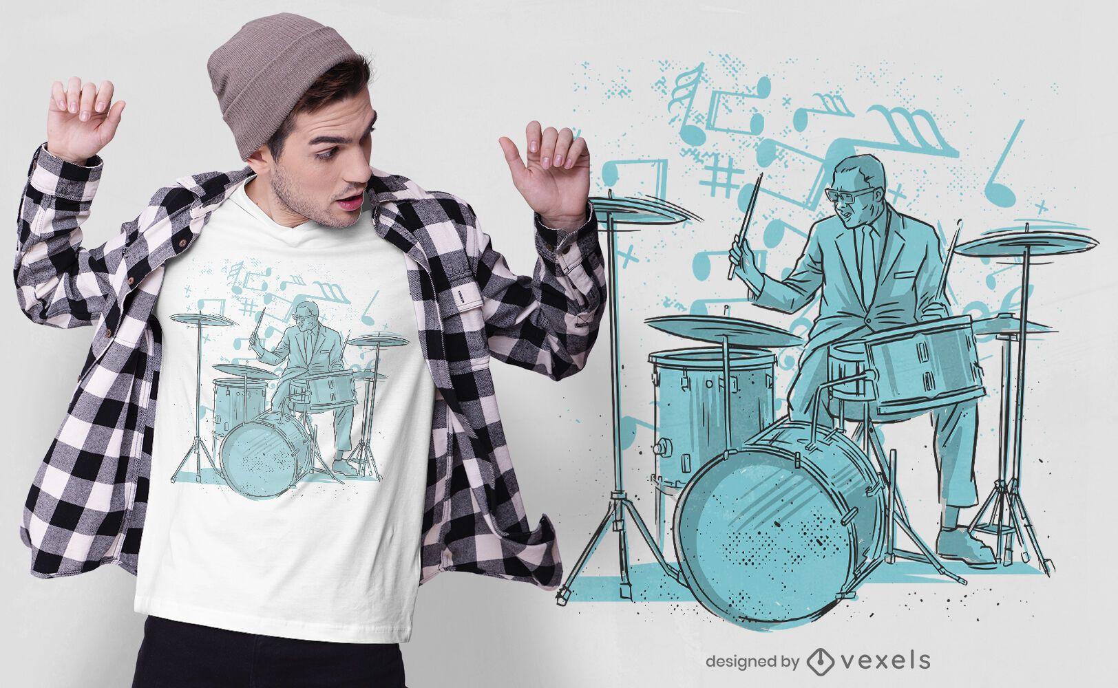 Diseño de camiseta de baterista dibujado a mano