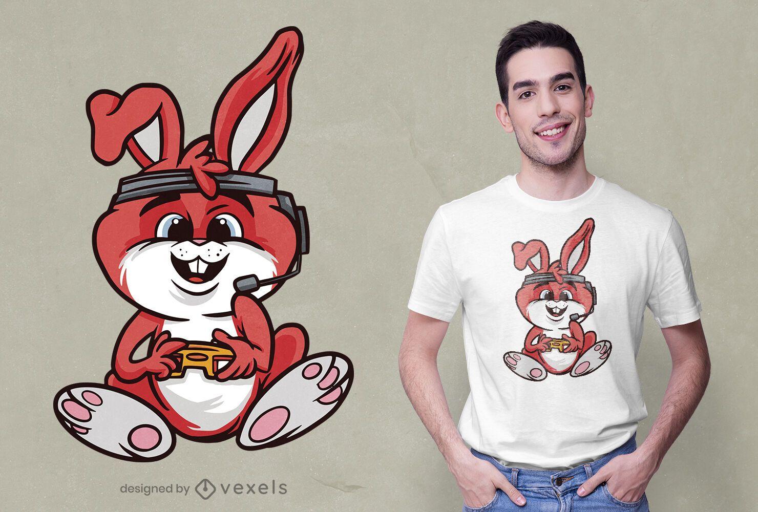 Diseño de camiseta de conejo de juego.