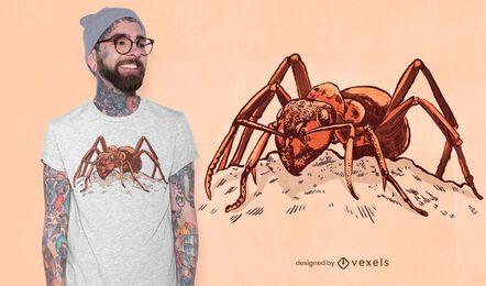 Diseño detallado de camiseta de hormiga