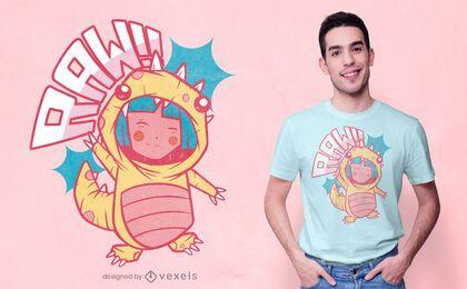 Diseño de camiseta de dinosaurio animado.