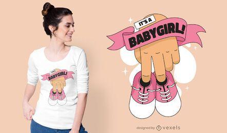 Diseño de camiseta de zapatos de bebé niña.