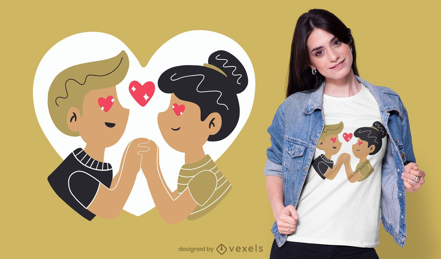 Design de t-shirt de casal de namorados