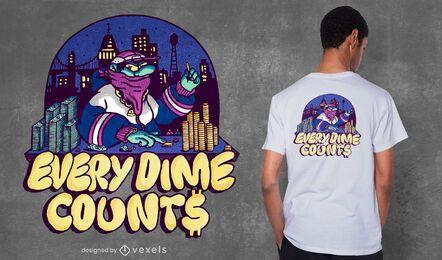 Cada centavo cuenta el diseño de la camiseta