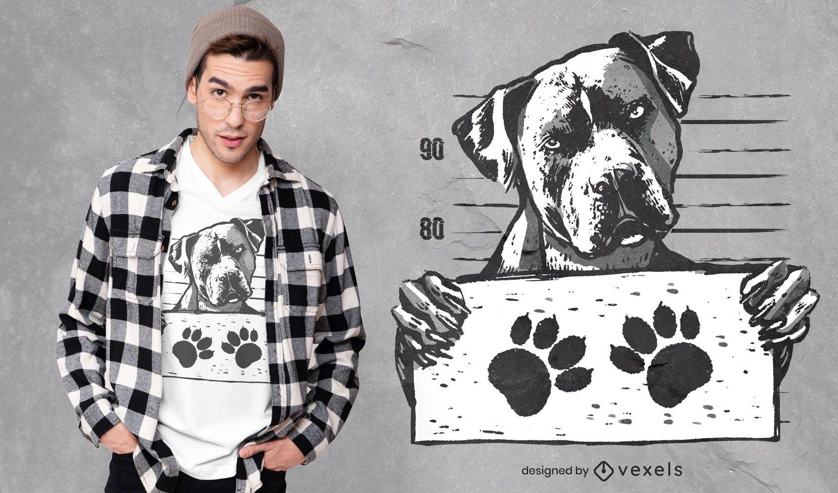 Mugshot Hund T-Shirt Design