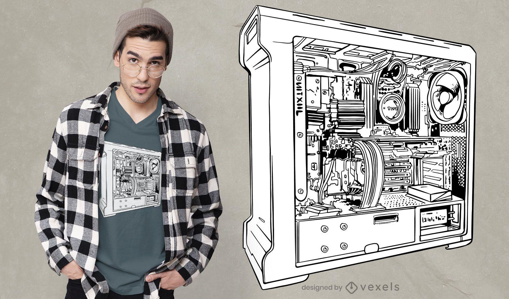 Diseño de camiseta gamer pc