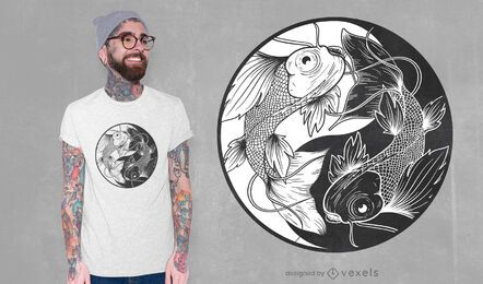 Diseño de camiseta koi yin yang