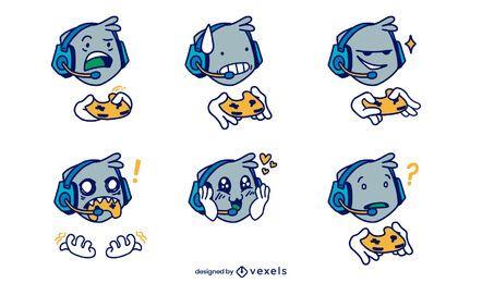 Conjunto de caracteres de reações do jogador