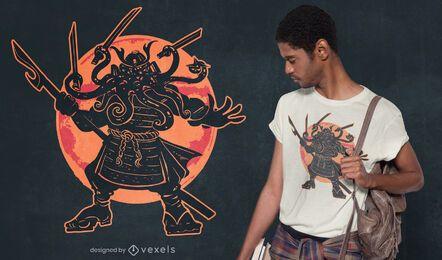 Diseño de camiseta Cthulhu samurai