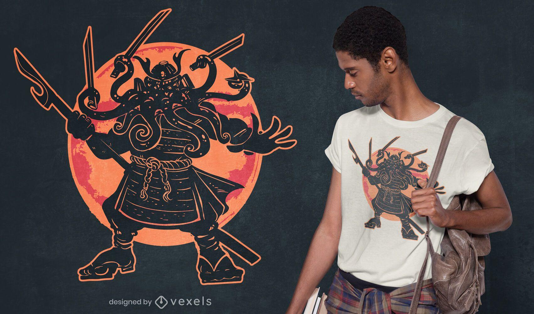 Cthulhu samurai t-shirt design