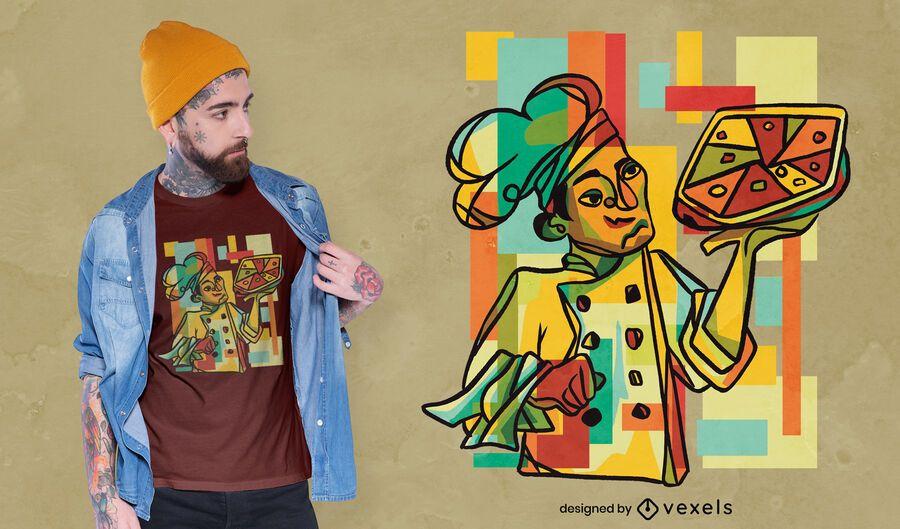 Kubistisches Pizza-T-Shirt Design