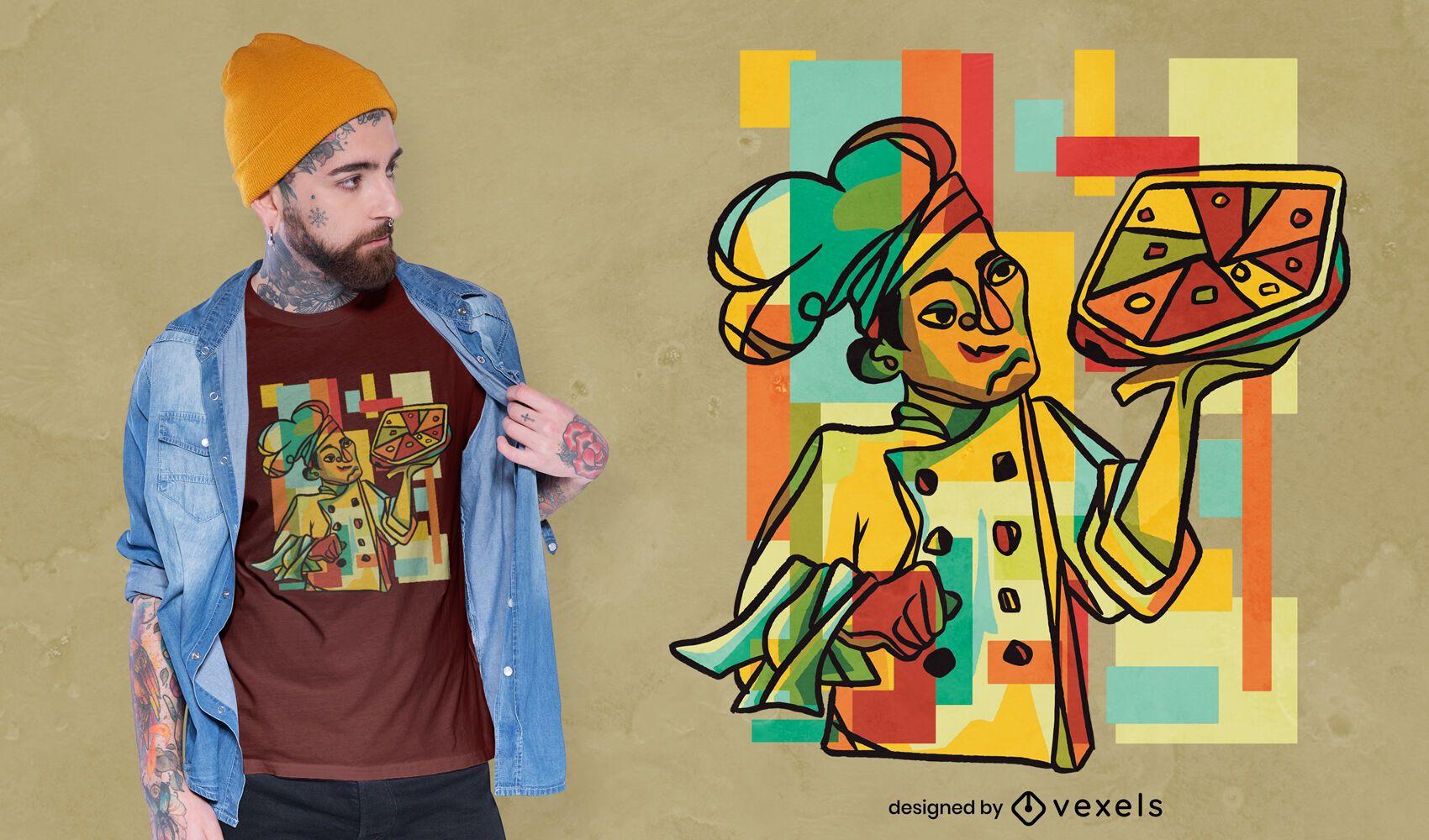 Diseño de camiseta de pizza cubista.