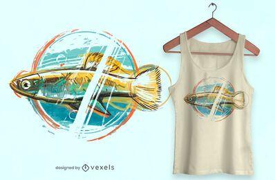Diseño de camiseta de pez acuarela
