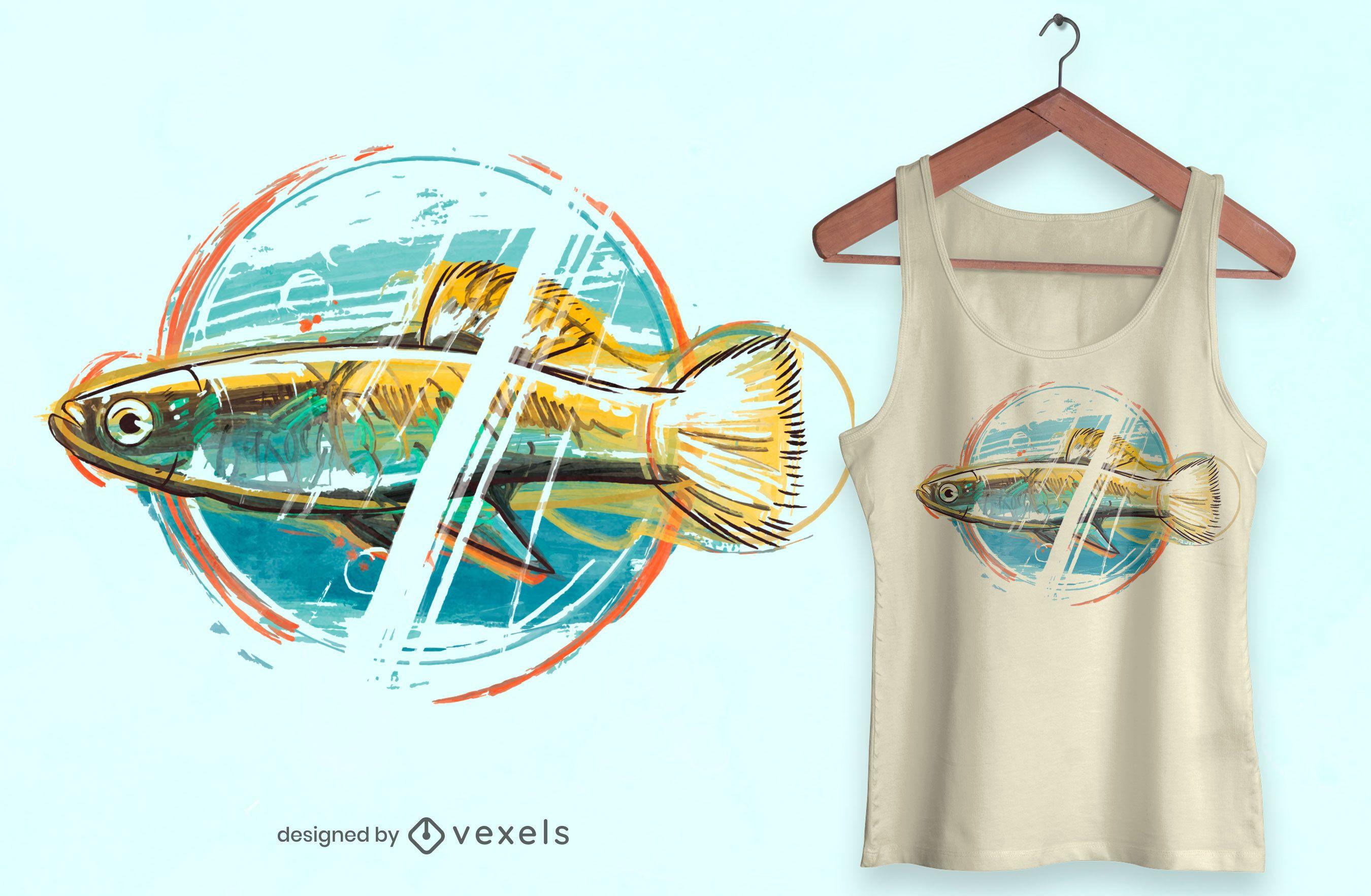 Watercolor fish t-shirt design