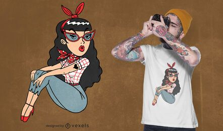 Rockabilly girl t-shirt design