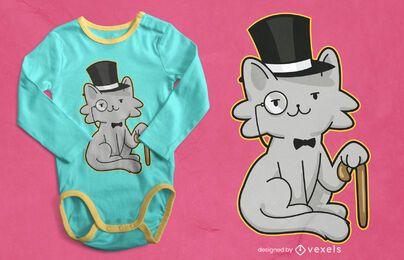 Diseño de camiseta de gato caballero
