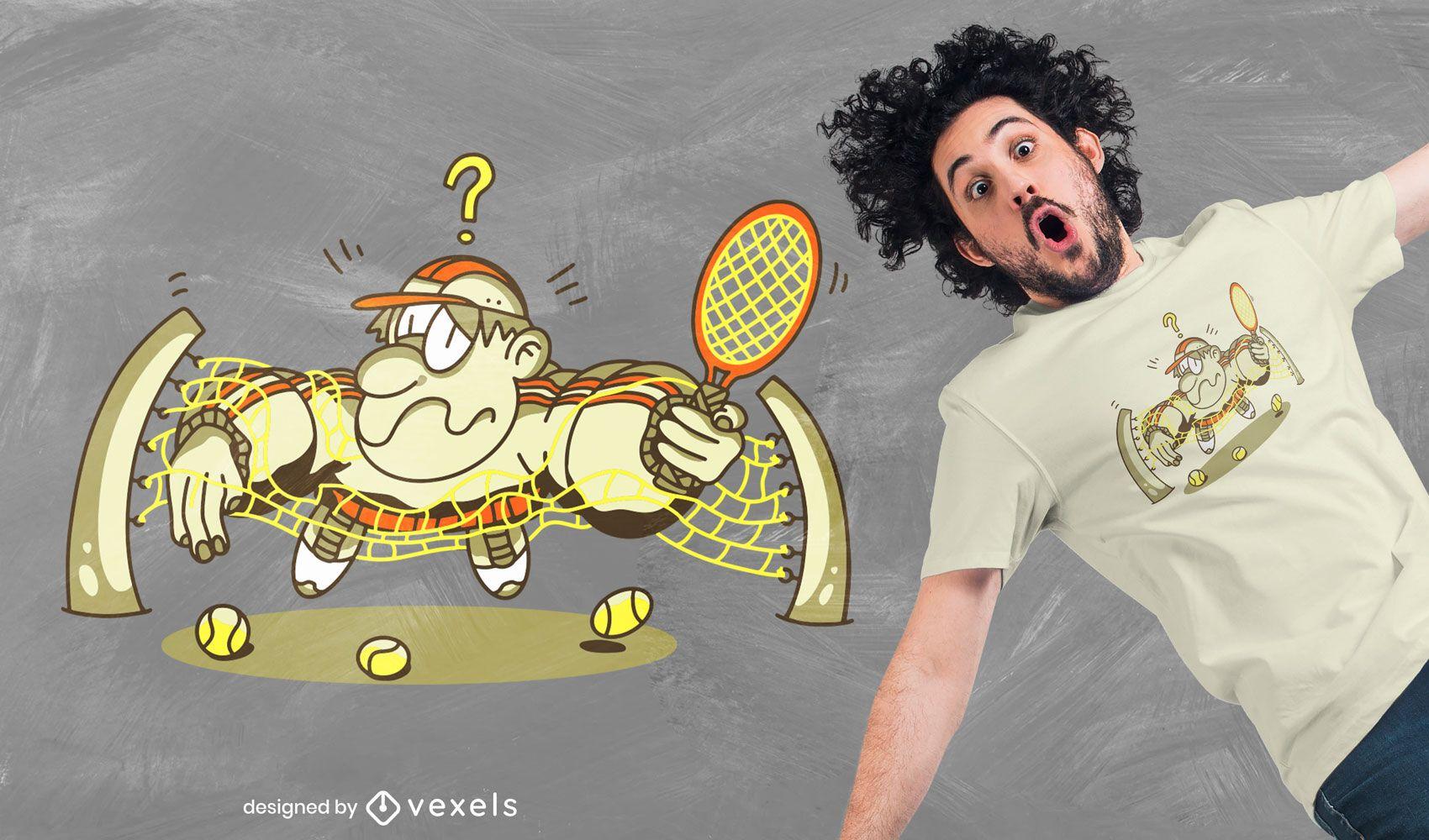 Diseño de camiseta de jugador de tenis enredado.
