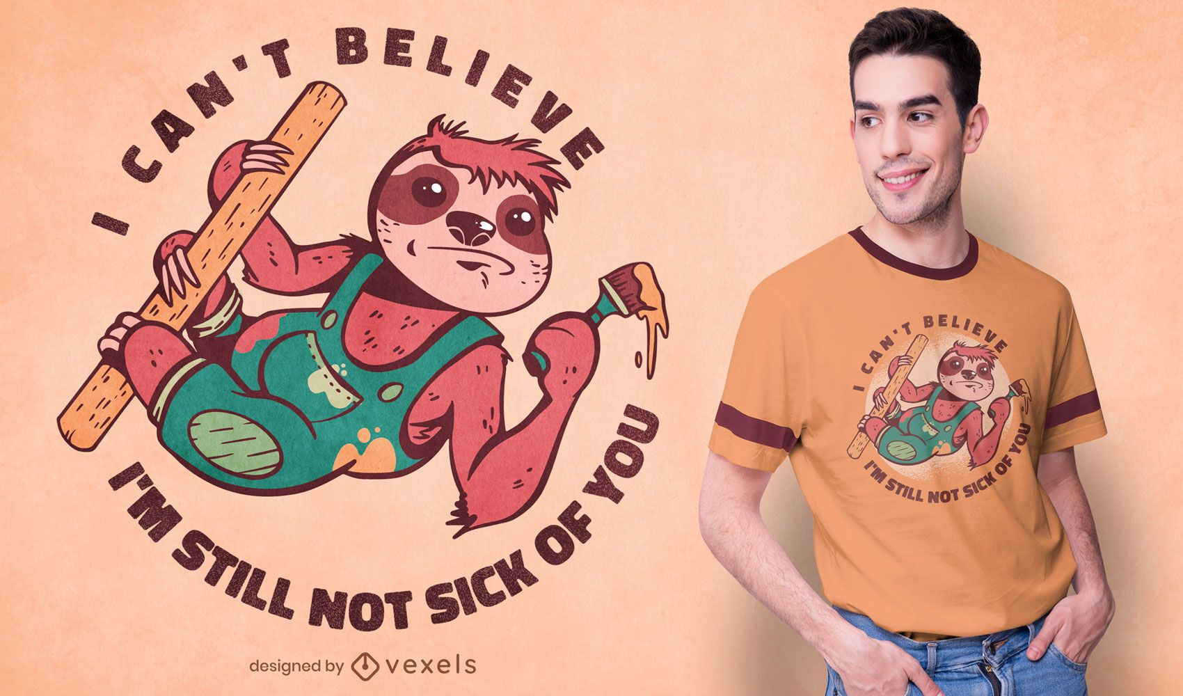Painting sloth t-shirt design