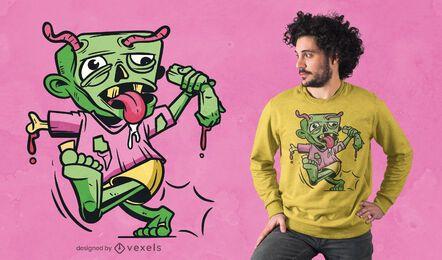 Design de camiseta em quadrinhos zumbi