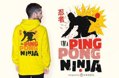 Diseño de camiseta de ping pong ninja