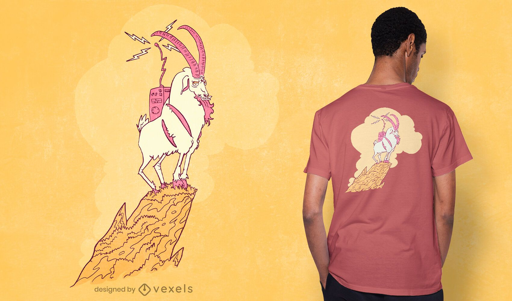 Diseño de camiseta de radio de cabra.