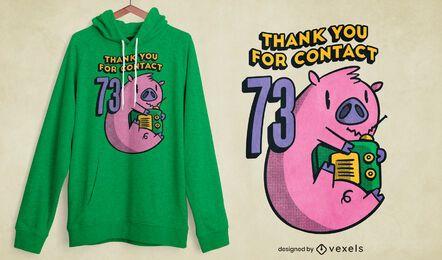 Diseño de camiseta de radio cerdo
