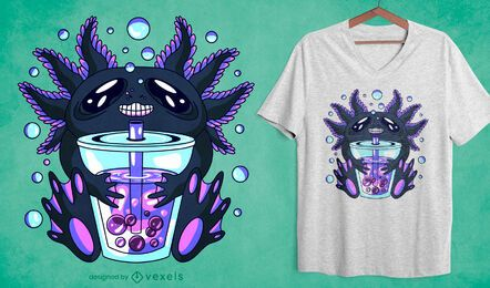 Diseño de camiseta axolotl bubble tea